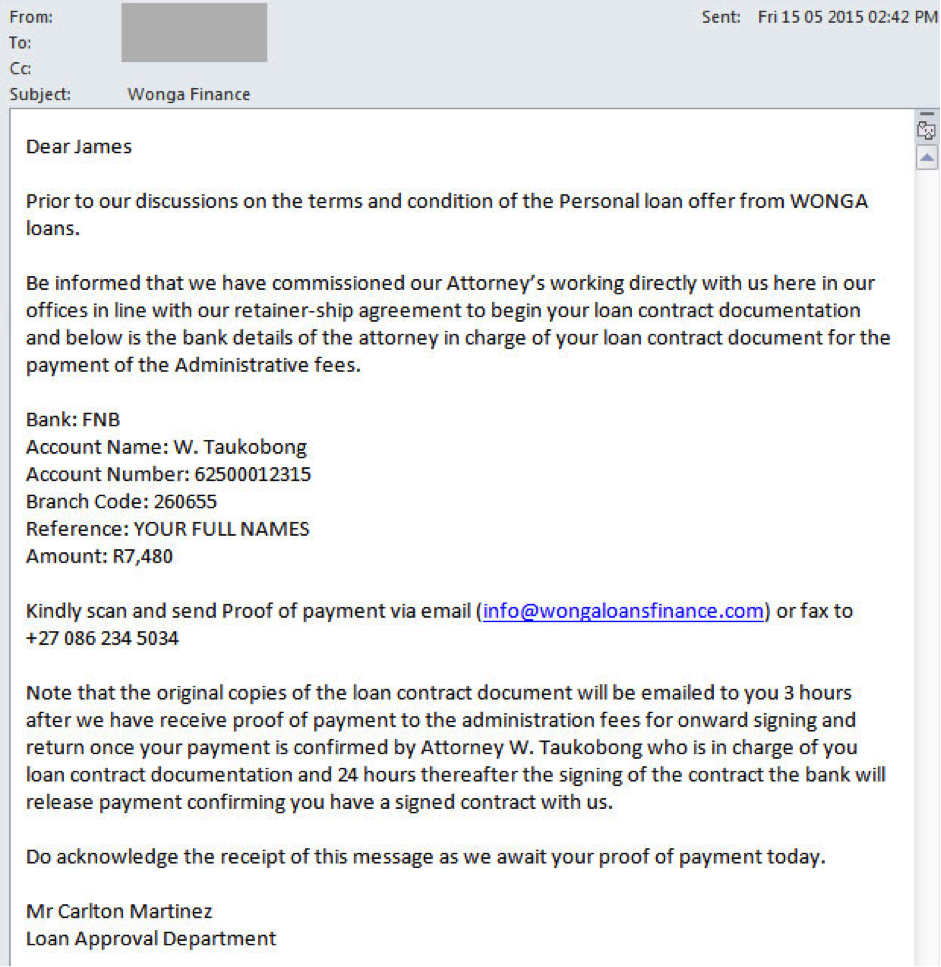 wonga scam email